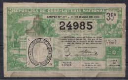 BILLETE DE LOTERIA NACIONAL DE LA REPÚBLICA DE CUBA, AÑO 1920 - Billetes De Lotería