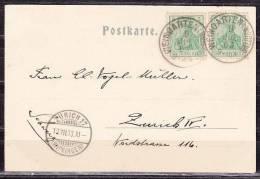 AK Gruss Aus Weingarten, MeF Mi 70 Germania, Nach Zuerich, AK-Stempel Zuerich 17 (Wipkingen) 1903 (12410) - Deutschland