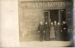 DEVANTURE COMMERCE DE VINS Et Liqueurs Carte Photo Belle Animation - Cafés