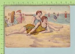 1905  ( Baigneuse Femme Sur La Plage Lady On The Beach) Post Card Carte Postale 2 Scan - Women