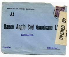 Lettre WW1 : De LA PAZ / 1919 / CENSURE / BANQUE DE LA NATION BOLIVIENNE - BANCO DE LA NACION BOLIVIANA - Bolivie