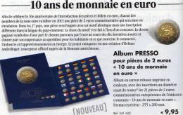 Collector-Album Tome 2€-Europa 2012 Neu 9€ Für 21x 2EURO-Gedenkmünzen Zum Einklicken Der Verschiedenen Münzen 10 Ans EMU - Alben & Binder
