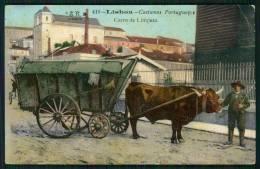 LISBOA / PORTUGAL. Postal Costumes Portugueses. Carro De Limpeza. Old Postcard - Lisboa