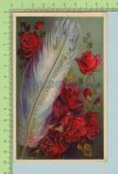 SB Serie 7014 Embossée Gaufrée Et Dorure (Plume Et Roses ) Post Card Carte Postale 2 Scan - Non Classés