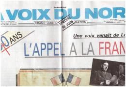 L Appel Du Général De Gaulle  Supplement La Voix Du Nord    18 Juin 1940 - 1950 - Heute