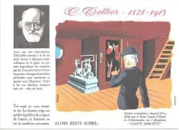 Buvard  Inventeur Invention  Tellier  Fabrication Artificielle De La Glace   1828-1913  Santé Sobrieté  Industrie Du Fro - Buvards, Protège-cahiers Illustrés