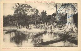 afrique - africa -tchad -ref A48- fort lamy - un village de pecheurs - carte bon etat  -