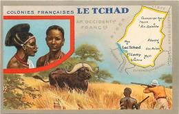 afrique - africa -tchad -ref A38- carte geographique  edition des produits du lion noir  - carte bon etat  -