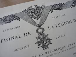 Diplôme Chevalier De La Legion D'Honneur (1962) Signée Par De Gaulle. - Autographes