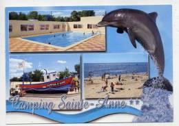 LA TRANCHE SUR MER--LA GRIERE--Camping Sainte-Anne **, Vues Diverses,piscine,plage,dauphin,cpm éd Artaud - La Tranche Sur Mer
