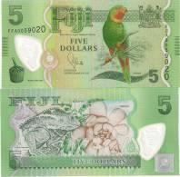 Fiji 5 Dollars 2012. UNC  Polymer Birds Fauna - Fidji