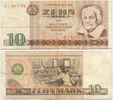 DDR 1971, 10 Mark, Staatsbank Der DDR, C. Zetkin, KN 6stellig, Geldschein, Banknote - [ 6] 1949-1990 : GDR - German Dem. Rep.