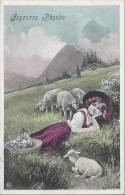 L1082 - Joyeuses Pâques Fillette Et Moutons - Pâques