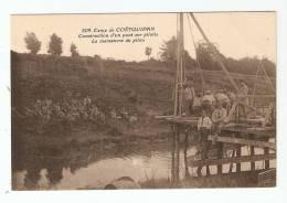 CPA - 56 Militaria - Coëtquidan :  Construction D´un Pont Sur Pilotis - Manoeuvre Du Pilon - Manoeuvres