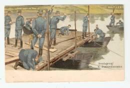 CPA - Suède : Broslagning ! K. Fortifikationen ( Soldats Construisant Un Pont  ) : Illustration Signé G. Bagge - Manoeuvres