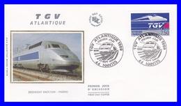 2607 (Yvert) Sur Enveloppe Premier Jour Illustrée Sur Soie Nantes - Le TGV Atlantique - France 1989 - FDC