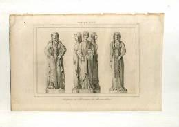 - FRANCE XIIe S.SCULPTURES DU MONUMENT DE MONTMORILLON . GRAVURE SUR ACIER DU XIXe S. - Esculturas