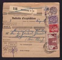 Tarif 3F + Fiscal / Bulletin D'expédition Colis / STRASBOURG 18.04.1933 Pour HAGUENAU - Marcophilie (Lettres)