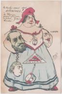 Caricature On Freemason, Politics, Dreyfus Affair, Franc Maconnerie, Freemasonry, Old Post Card Reproduction As Per Scan - Freemasonry