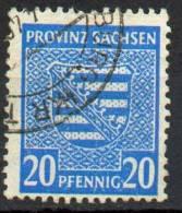 1945- Saxe - Armoiries YT N°16 Obl. / Provinz Sachsen Wappen MiNr. 81X Rundstempel - Zone Soviétique