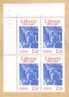 1985 - TIMBRE LIBERTE 1886 - 1986 - BLOC De 4 COINS De FEUILLE -  Timbres Se Tenant Avec 2 Variétés - Fraicheur Postale - Variétés Et Curiosités