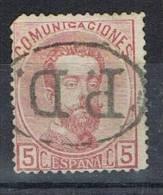 Sello 5 Cts Carmin Amadeo 1872, Marca PD En Oval, Num 118a º - 1872-73 Reino: Amadeo I