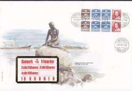 Denmark Ersttags Brief FDC Cover 1983 Booklet Markenheftchen Wellenlinien & Königin Margrethe II. - FDC