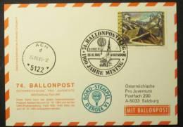 Österreichische Pro Juventute Ballonpost Nr. 74a-b (26.10.1985) - 3 Belege - Per Palloni