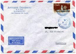 =*= Côte Française Des Somalies 282 Sur Lettre Djibouti>>>>Marseille 1er Juillet 1952 =*= - French Somali Coast (1894-1967)
