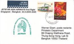 Erstflugpost - Jet Asia - Singapore - Bangkok - 23.03.2005   [dt14b] - Orchideen
