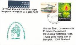 Erstflugpost - Jet Asia - Singapore - Bangkok - 23.03.2005   [dt14a] - Singapur (1959-...)