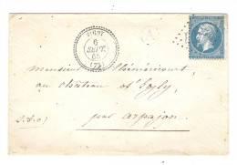 Lettre:  VIGNY,Seine & Oise,Cachet PERLE,6 Sept 1865,FACTEUR A,GC 4209 S N° 22;PIANO >Chateau D´Egly / Arpajon;OCTOGONAL - Marcophilie (Lettres)