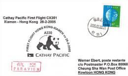 Erstflugpost - Cathay Pacific - Xiamen - Hong Kong - 28.02.2005   [dt25b] - 1949 - ... Volksrepublik