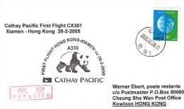 Erstflugpost - Cathay Pacific - Xiamen - Hong Kong - 28.02.2005   [dt25c] - 1997-... Sonderverwaltungszone Der China