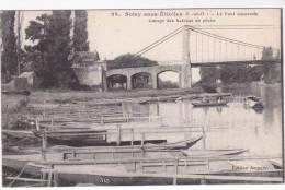 Très Rare CPA ESSONNE 91 : SOISY SOUS ETIOLLES - Le Pont Suspendu - Garage Des Bateaux De Pêche - Sonstige Gemeinden