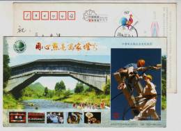 Shouning Rainhouse Bridge,electric Power Worker Operation,CN05 Ningde Electricity Power Bureau Advert Pre-stamped Card - Elektriciteit
