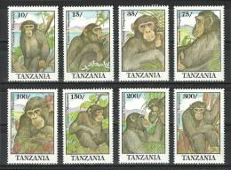 Tanzania 1992 ( Common Chimpanzee ) - Complete Set - MNH (**) - Chimpanzés