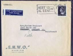 1947  Luchtpost Brief Naar USA   345 Enkelfrankering - Periode 1891-1948 (Wilhelmina)
