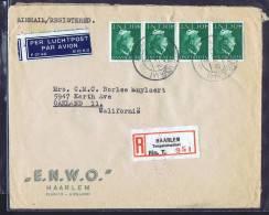 1947 Aantekenen  Luchtpost Brief Naar USA   343 X 4 - Periode 1891-1948 (Wilhelmina)