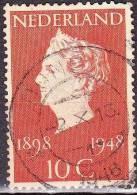 1948 Kortebalkstempel DONGEN Op Koningin Wilhelmina 10 Cent Roodoranje NVPH 504 - Poststempels/ Marcofilie