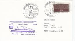 """Schiffspost: FS """"Deutschland"""", 10 Jahre In Dienst, Poststempel: Fährschiff Deutschland Vogelfluglinie 23.6.1982"""