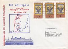 "Schiffspost: MS ""Europa"", Norwegen Kreuzfahrt, Poststempel: Bad Harzburg 21.4.1977"