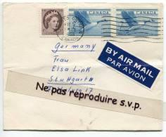 - Cover  From TORONTO - By Air Mail, 3 Stamps,  To Stuttgart, Germany, Très Bon état, Scans. - 1952-.... Règne D'Elizabeth II