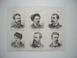 GRAVURE 1881. LE PERCEMENT DE L'ISTHME DE PANAMA. DEPART DU PERSONNEL CHARGE DE COMMENCER LES TRAVAUX. VOIR LES NOMS.... - Collections