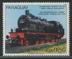 Paraguay 1985 Mi 3899 Sc 3899 ** Steam Locomotive / Dampflok Tender T18 (1912)- 150th. Ann. German Railways/ Eisenbahnen - Treinen