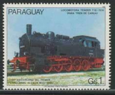 Paraguay 1985 Mi 3900 Sc 2147 ** Steam Locomotive / Dampflok Tender T16 (1914) - 150th Ann. German Railways/ Eisenbahnen - Treinen