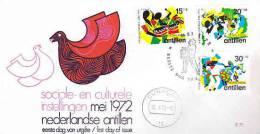 DV 1893) Ned. Antillen 1972 MiNr. 246-48 FDC, Steelband, Seu-Fest, Tanzfest Danse Dance - Musik