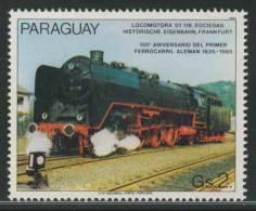 Paraguay 1985 Mi 3901 Sc 2148 ** Steam Locomotive / Dampflok 01-118 Sociedad - 150th Ann. German Railways / Eisenbahnen - Treinen