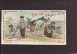 AIGUEBELLE CHROMO CALENDRIER MOIS FEVRIER AGRICULTURE POMMES DE TERRE CHARRUE CHAVAL BROUETTE - Aiguebelle