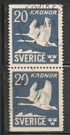 SWEDEN - 1936 - POSTE AERIENNE - FAUNA - BIRDS  - Yvert # A7ab   Vertical Pair - USED